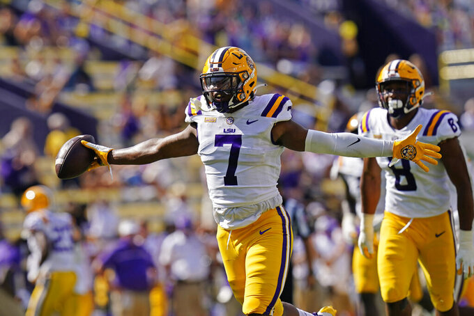 LSU wide receiver Ja'Marr Chase (7) celebrates a fumble recovery in the first half an NCAA college football game against Mississippi State in Baton Rouge, La., Saturday, Sept. 26, 2020. (AP Photo/Gerald Herbert)