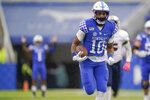 Kentucky running back Asim Rose (10) runs for a touchdown during the first half of an NCAA college football game against UT Martin, Saturday, Nov. 23, 2019, in Lexington, Ky. (AP Photo/Bryan Woolston)