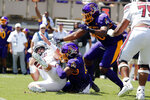 South Carolina's Zeb Noland (8) gets tackled by East Carolina's D'Angelo McKinnie (96) and Jeremy Lewis (11) during the first half of an NCAA college football game in Greenville, N.C., Saturday, Sept. 11, 2021. (AP Photo/Karl B DeBlaker)