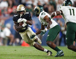 Colorado wide receiver Laviska Shenault Jr., left, runs for a first down as Colorado State cornerback Marshaun Cameron comes in for the stop during the third quarter of an NCAA college football game Friday, Aug. 30, 2019, in Denver. (AP Photo/David Zalubowski)