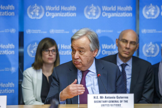 U.N. Secretary-General Antonio Guterres speaks during an update on the situation regarding the COVID-19 (previously named novel coronavirus (2019-nCoV), at the World Health Organization (WHO) headquarters in Geneva, Switzerland, Monday, Feb. 24, 2020. (Salvatore Di Nolfi/Keystone via AP)