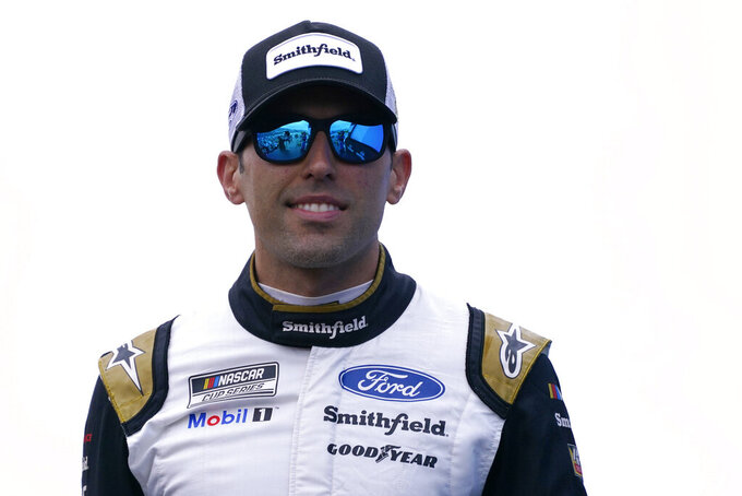 Aric Almirola at a NASCAR Cup Series auto race, Sunday, July 18, 2021, in Loudon, N.H. (AP Photo/Charles Krupa)