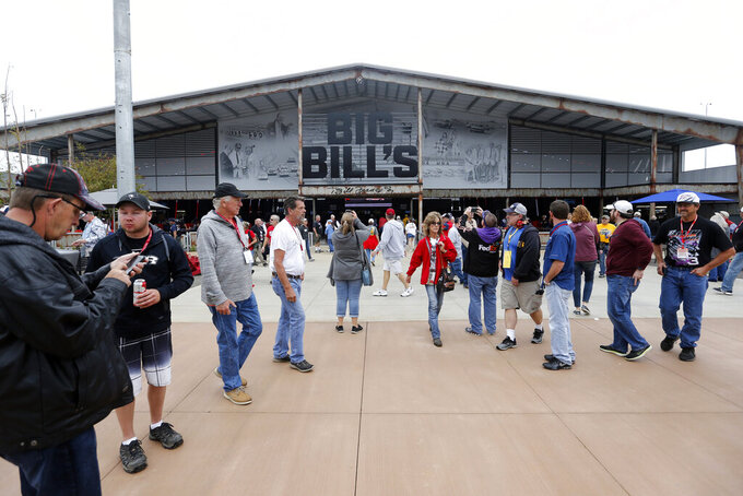 Fans check out the new facilities before the 1000Bulbs.com 500 at Talladega Superspeedway, Sunday, Oct 13, 2019, in Talladega, Ala. (AP Photo/Butch Dill)