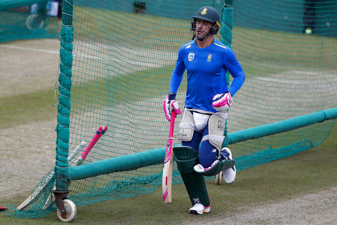 South Africa's Faf du Plessis runs during a practice session in Dharmsala, India, Wednesday, March 11, 2020. India and South Africa are scheduled to play their first one-day international cricket match on Thursday in Dharmsala. (AP Photo/Ashwini Bhatia)