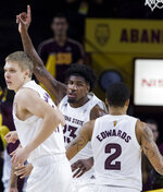 Arizona State's Romello White's (23) celebrates a shot against Washington during the first half of an NCAA college basketball game Saturday, Feb. 9, 2019, in Tempe, Ariz. (AP Photo/Darryl Webb)