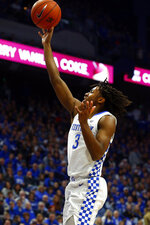 Kentucky's Tyrese Maxey takes an uncontested shot in the first half of an NCAA college basketball game against Florida in Lexington, Ky., Saturday, Feb. 22, 2020. (AP Photo/James Crisp)