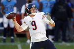Chicago Bears quarterback Nick Foles (9) passes against the Tennessee Titans in the second half of an NFL football game Sunday, Nov. 8, 2020, in Nashville, Tenn. (AP Photo/Wade Payne)