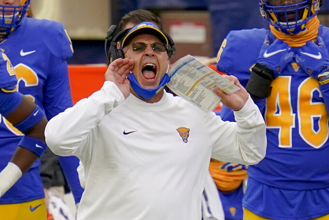 Pittsburgh head coach Pat Narduzzi yells to his team as they play against North Carolina State during the first half of an NCAA college football game, Saturday, Oct. 3, 2020, in Pittsburgh. North Carolina State won 30-29. (AP Photo/Keith Srakocic)