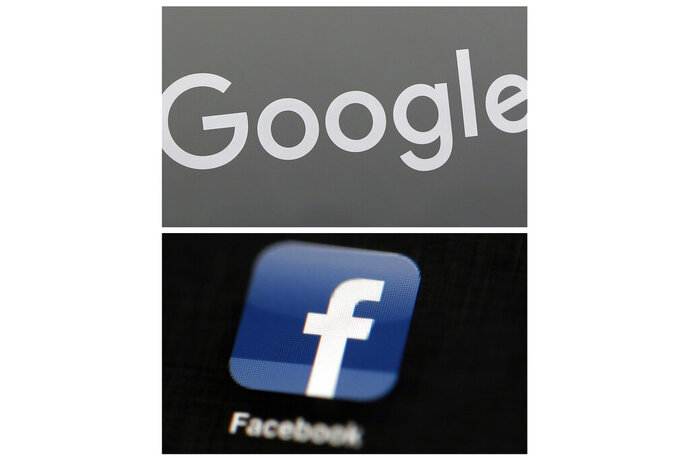 FILE - This file photo combo of images shows a Google sign and the Facebook app. In a scathing indictment of the two most powerful corporate giants of the internet, Amnesty International insists in a new report published Thursday, Nov. 21, 2019, that Google and Facebook be compelled to change what it calls their surveillance-based business models. (AP Photo/File)