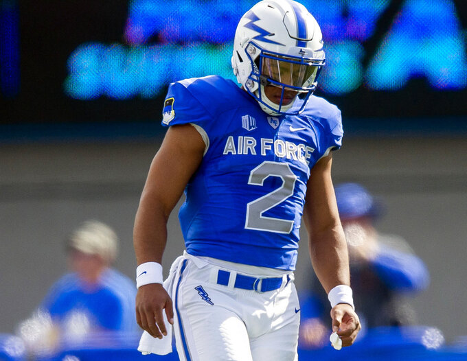 Air Force quarterback Arion Worthman (2) preps for the next play against Nevada during the first half of an NCAA college football game, Saturday, Sept. 29, 2018 in Colorado Springs, Colo. (Dougal Brownlie/The Gazette via AP)
