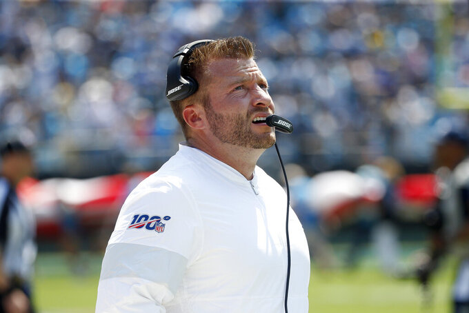 Los Angeles Rams head coach Sean McVay looks on during the first half an NFL football game against the Carolina Panthers in Charlotte, N.C., Sunday, Sept. 8, 2019. (AP Photo/Brian Blanco)