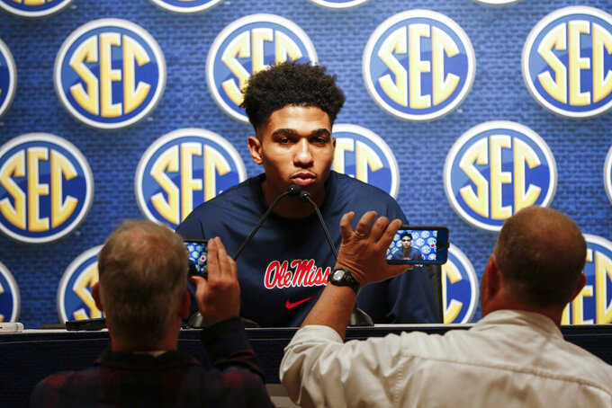 Mississippi's Breein Tyree speaks during the Southeastern Conference NCAA college basketball media day Wednesday, Oct. 16, 2019, in Birmingham, Ala. (AP Photo/Butch Dill)