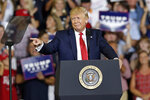 President Donald Trump speaks at a campaign rally in Greenville, N.C., Wednesday, July 17, 2019. (AP Photo/Gerry Broome)