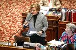 Iowa Senator Liz Mathis, D-Cedar Rapids, speaks out against SJR 2001, the controversial abortion ban bill, during senate debate in the Senate Chambers at the Iowa Capitol Building, Thursday, Feb. 13, 2020 in Des Moines, Iowa. (Bryon Houlgrave/The Des Moines Register via AP)
