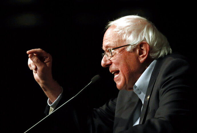 FILE - In this Oct. 30, 2018 file photo, Sen. Bernie Sanders, I-Vt., speaks at a campaign rally in Bethesda, Md. Can Sanders recapture the magic that fueled his first presidential campaign? To win the nomination, he may not need to. As Sanders, a 77-year-old self-described democratic socialist, formally launches his 2020 campaign, the lessons of President Donald Trump's victory in the GOP's packed 2016 contest loom large. (AP Photo/Patrick Semansky, File)