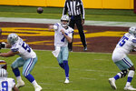 Dallas Cowboys quarterback Ben DiNucci (7) throws downfield in the second half of an NFL football game, Sunday, Oct. 25, 2020, in Landover, Md. Washington won 25-3.(AP Photo/Patrick Semansky)