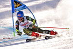 United States' Mikaela Shiffrin competes during the first run of an alpine ski, World Cup women's giant slalom in Sestriere, Italy, Saturday, Jan. 18, 2020. (Marco Alpozzi/LaPresse via AP)