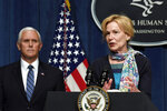 Vice President Mike Pence, left, listens as Dr. Deborah Birx, White House coronavirus response coordinator, right, speaks during a news conference with members of the Coronavirus task force at the Department of Health and Human Services in Washington, Friday, June 26, 2020. (AP Photo/Susan Walsh)