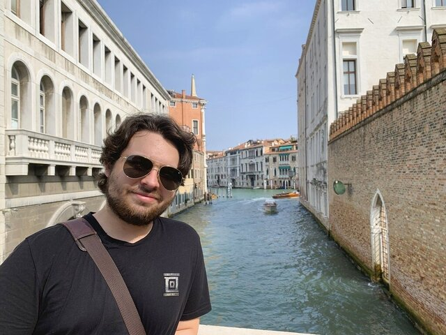 This 2019 photo provided by Mercedes Lemp shows Duncan Lemp in Venice, Italy. A conservative legal group has sued a Maryland police department for copies of any body camera videos of the fatal shooting of Lemp, whose family says he was asleep when police opened fire. Judicial Watch's lawsuit says the Montgomery County Police Department has failed to respond to its public records request for videos of the March 12 shooting of 21-year-old Duncan Lemp. The department hasn't said whether any such videos exist. (Mercedes Lemp via AP, File)