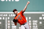 Baltimore Orioles starting pitcher John Means (67) pitches during the first inning of a baseball game against the Boston Red Sox, Saturday, Sept. 28, 2019, in Boston. (AP Photo/Mary Schwalm)