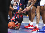 Mississippi's Devontae Shuler (2) reacts to a call in the first half of an NCAA college basketball game against Memphis Saturday, Nov. 23, 2019, in Memphis, Tenn. (AP Photo/Karen Pulfer Focht)