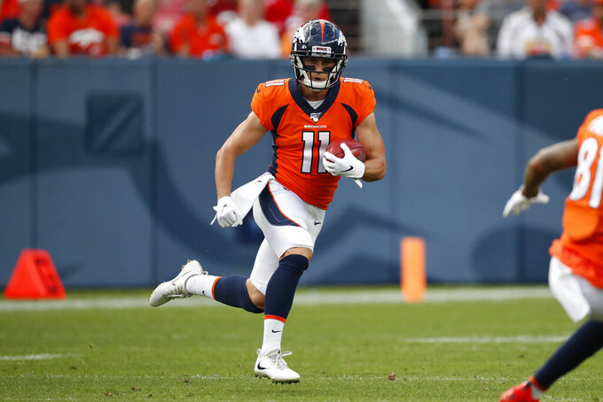 Denver Broncos wide receiver River Cracraft (11) runs against the San Francisco 49ers during an NFL preseason football game, Monday, Aug. 19, 2019, in Denver. (AP Photo/David Zalubowski)