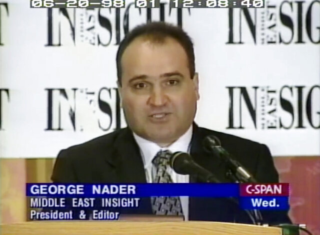 FILE - This 1998 file frame from video provided by C-SPAN shows George Nader, then-president and editor of Middle East Insight. Nader, a key witness in special counsel Robert Mueller's Russia investigation, will be sentenced to at least 10 years in prison after pleading guilty to charges of child sex trafficking and possessing child pornography. (C-SPAN via AP, File)