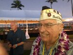 Herb Elfring, 97, of Jackson, Mich. attends the ceremonies at Pearl Harbor, Hawaii on Saturday, Dec. 7, 2019. Elfring survived the attack on Pearl Harbor as a soldier in the California National Guard's 251st Coast Artillery. (AP Photo/Audrey McAvoy)