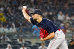 Boston Red Sox starting pitcher Nathan Eovaldi delivers during the third inning of a baseball game against the New York Yankees, Saturday, July 17, 2021, in New York. (AP Photo/Mary Altaffer)