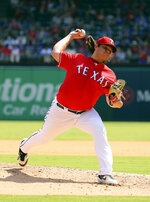 Texas Rangers relief pitcher Ian Gibaut (63) works the fourth inning against the Oakland Athletics in a baseball game Sunday, Sept. 15, 2019, in Arlington, Texas. (AP Photo/Richard W. Rodriguez)