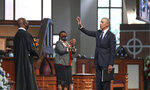 Former President Barack Obama acknowledges the crowd after addressing services for the late Rep. John Lewis, D-Ga., at Ebenezer Baptist Church in Atlanta, Thursday, July 30, 2020.  (Alyssa Pointer/Atlanta Journal-Constitution via AP, Pool)
