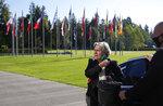 Dutch Defense Ank Bijleveld arrives for a meeting of EU defense ministers at the Brdo Congress Center in Kranj, Slovenia, Thursday, Sept. 2, 2021. (AP Photo/Darko Bandic)