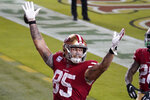 San Francisco 49ers tight end George Kittle (85) celebrates after scoring a touchdown against the Philadelphia Eagles during the second half of an NFL football game in Santa Clara, Calif., Sunday, Oct. 4, 2020. (AP Photo/Tony Avelar)