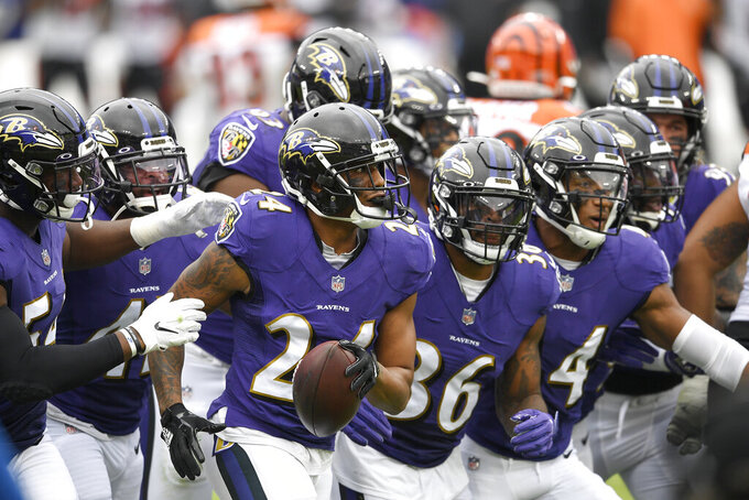 Baltimore Ravens cornerback Marcus Peters, center, holds the ball while running with teammates celebrating his interception on a pass from Cincinnati Bengals quarterback Joe Burrow during the first half of an NFL football game, Sunday, Oct. 11, 2020, in Baltimore. (AP Photo/Nick Wass)