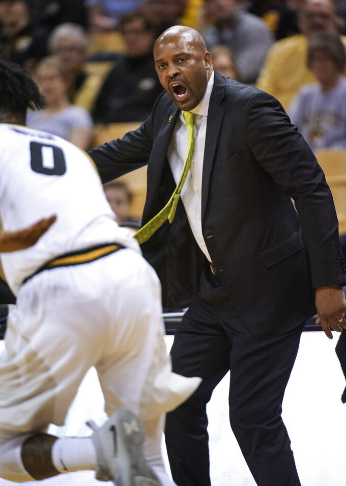 Missouri head coach Cuonzo Martin shouts instructions to his team during the first half of an NCAA college basketball game against South Carolina Saturday, March 2, 2019, in Columbia, Mo. Missouri won the game 78-63. (AP Photo/L.G. Patterson)