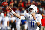 Tulsa quarterback Zach Smith (11) passes during the first half of an NCAA college football game against Cincinnati, Saturday, Oct. 19, 2019, in Cincinnati. (AP Photo/John Minchillo)