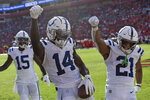 Indianapolis Colts wide receiver Zach Pascal (14) celebrates his touchdown against the Tampa Bay Buccaneers with running back Nyheim Hines (21) and wide receiver Parris Campbell (15) during the second half of an NFL football game Sunday, Dec. 8, 2019, in Tampa, Fla. (AP Photo/Jason Behnken)