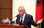 Albania's president Ilir Meta speaks during a press conference in Tirana, Tuesday, July 2, 2019. Meta has strongly denounced the June 30 municipal elections as a