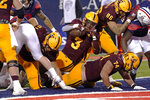 Arizona State running back Rachaad White (3) scores a touchdown against Arizona in the second half during an NCAA college football game, Friday, Dec. 11, 2020, in Tucson, Ariz. (AP Photo/Rick Scuteri)