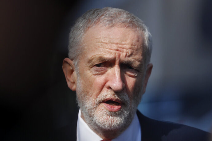 FILE - In this Thursday, March 21, 2019 file photo, British Labour Party leader Jeremy Corbyn speaks outside EU headquarters in Brussels. Cross-party talks in Britain aimed at striking a compromise Brexit deal broke down on Friday May 17, 2019, without agreement. Opposition Labour Party leader Jeremy Corbyn says the talks with Prime Minister Theresa May's government have