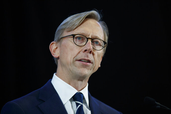 FILE - In this Nov. 29, 2018 file photo, Brian Hook, U.S. special representative for Iran, speaks at the Iranian Materiel Display at Joint Base Anacostia-Bolling in Washington. An expiring United Nations weapons embargo on Iran must remain in place to prevent it from