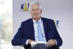 European Union chief Brexit negotiator Michel Barnier attends the MEDEF business union summer forum, at the Paris Longchamp racetrack in Paris, Wednesday Aug. 26, 2020. (AP Photo/Kamil Zihnioglu)