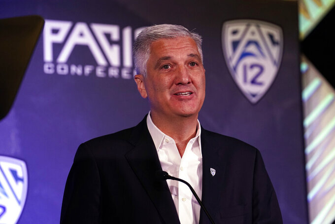Pac-12 Commissioner George Kliavkoff speaks during the Pac-12 Conference NCAA college football Media Day Tuesday, July 27, 2021, in Los Angeles. (AP Photo/Marcio Jose Sanchez)