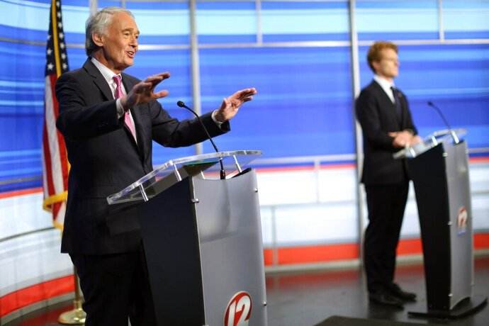 FILE — In this June 8, 2020, file photo, Sen. Edward Markey, left, D-Mass., and challenger Rep. Joseph Kennedy III, D-Mass., participate in a televised debate ahead of the Democratic primary, in East Providence, R.I. During the coronavirus pandemic, Markey missed 34 of 42 Senate votes in May and the first half of June, or about 80 percent, according to information from GovTrack, an independent clearinghouse for congressional data. (Jessica Bradley/WPRI-TV via AP, Pool, File)