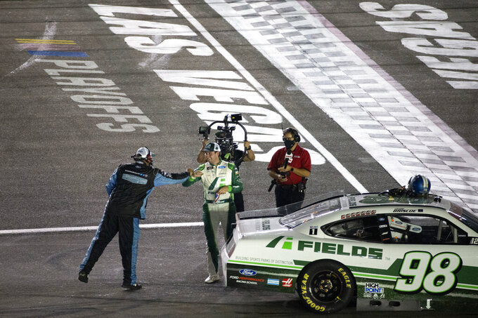 Chase Briscoe is congratulated after winning the NASCAR Xfinity Series auto race at Las Vegas Motor Speedway on Saturday, Sept. 26, 2020, in Las Vegas. (Ellen Schmidt/Las Vegas Review-Journal via AP)