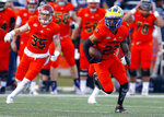 North safety Nasir Adderley, of Delaware, returns an interception during the second half of the Senior Bowl college football game, Saturday, Jan. 26, 2019, in Mobile, Ala. (AP Photo/Butch Dill)