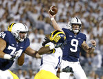 FILE - In this Oct. 21, 2017, file photo, Penn State quarterback Trace McSorley (9) throws a pass against Michigan during the first half of an NCAA college football game in State College, Pa. McSorley is expected to start this week against Michigan after missing part of last week's 30-24 win over No. 18 Iowa. (AP Photo/Chris Knight, File)