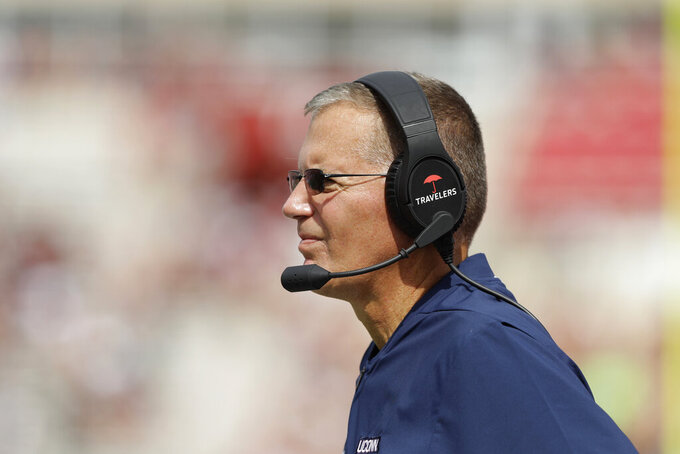 Connecticut head coach Randy Edsall watches during the first half of an NCAA college football game against Indiana, Saturday, Sept. 21, 2019, in Bloomington, Ind. (AP Photo/Darron Cummings)