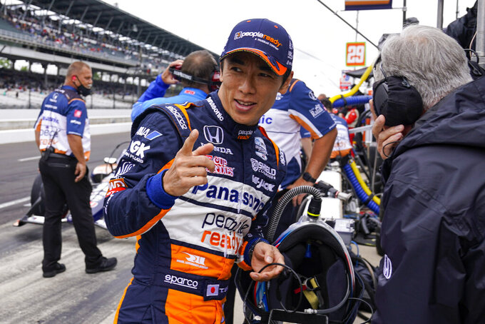 Takuma Sato, of Japan, prepares to drive during the final practice for the Indianapolis 500 auto race at Indianapolis Motor Speedway in Indianapolis, Friday, May 28, 2021. (AP Photo/Michael Conroy)