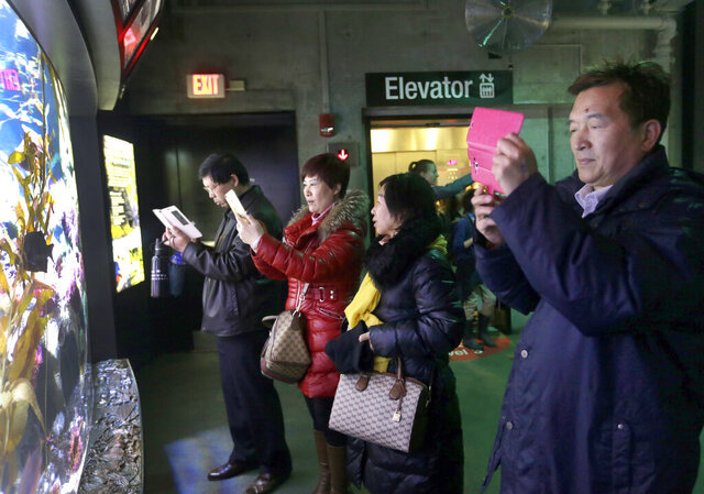 In this March 27, 2017, file photo, tourists from China take pictures at the New England Aquarium in Boston. With tens of millions of Chinese ordered to stay put and many others opting to avoid travel as the new coronavirus spreads, tourism around the global is taking a heavy hit during one of the biggest travel seasons, the Lunar New Year. (AP Photo/Elise Amendola, File)